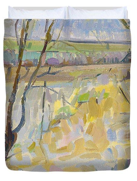 The Flooded Cherwell From Rousham II Oil On Canvas Duvet Cover