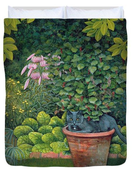 The Flower Pot Cat Duvet Cover by Ditz