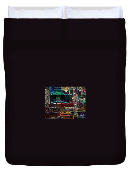 The Fluidity Of Light - Times Square Duvet Cover by Miriam Danar