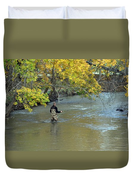 The Fly Fisherman Duvet Cover by Kay Novy