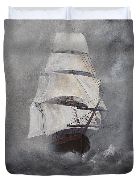 Duvet Cover featuring the painting The Flying Dutchman by Virginia Coyle
