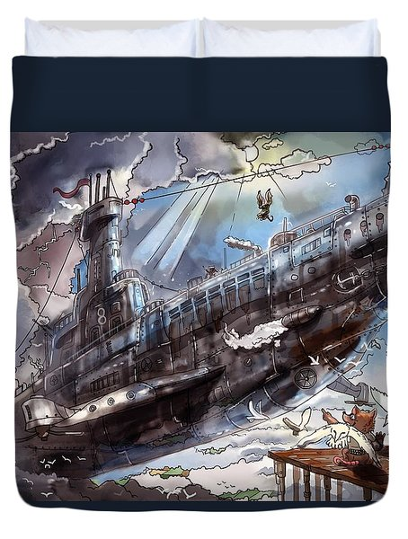 The Flying Submarine Duvet Cover