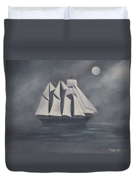 Duvet Cover featuring the painting The Fog by Virginia Coyle