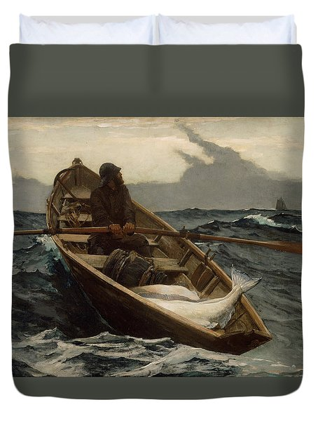 The Fog Warning .halibut Fishing Duvet Cover