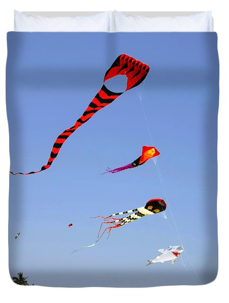 Duvet Cover featuring the photograph The Forgotten Joy Of Soaring Kites by Christine Till