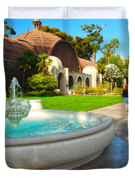 Botanical Building And Fountain At Balboa Park Duvet Cover