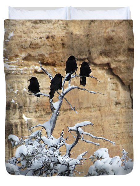 Duvet Cover featuring the photograph The Four Crows by Laurel Powell