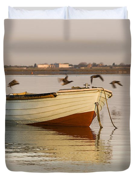 Duvet Cover featuring the photograph The Four Flying Boatmen by Trevor Chriss