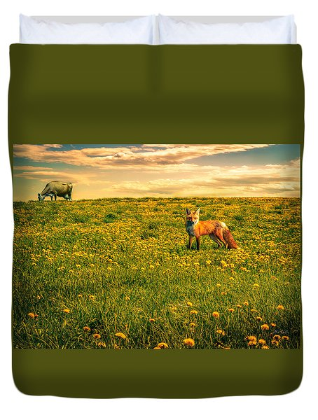 The Fox And The Cow Duvet Cover by Bob Orsillo
