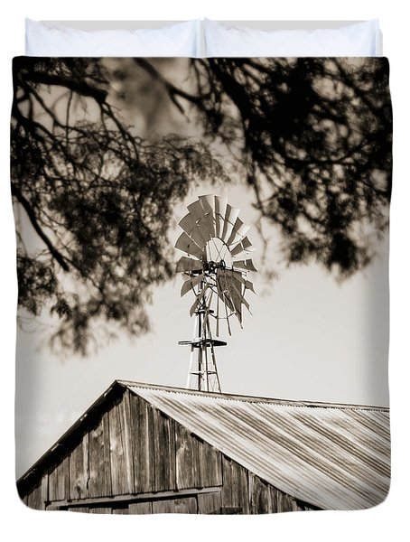 Duvet Cover featuring the photograph The Framed Windmill by Amber Kresge