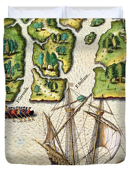 The French Discvoer Six More Rivers Duvet Cover by Jacques Le Moyne