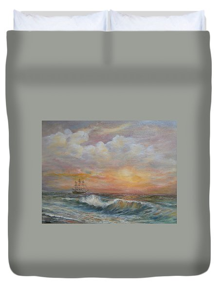 Duvet Cover featuring the painting Sunlit  Frigate by Luczay