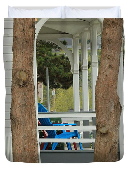 Duvet Cover featuring the photograph The Front Porch by E Faithe Lester