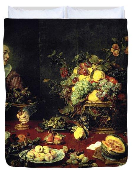 The Fruit Bowl Oil On Canvas Duvet Cover