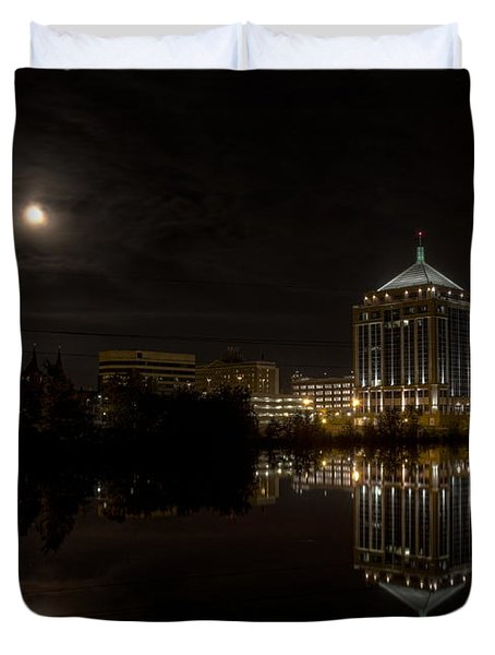 The Full Moon Over The Dudley Tower Duvet Cover