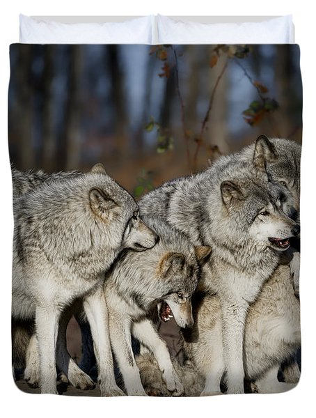 Duvet Cover featuring the photograph The Gang by Wolves Only