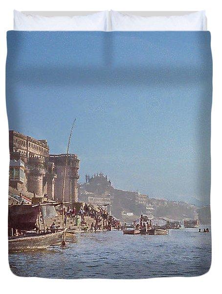 The Ganges River At Varanasi Duvet Cover