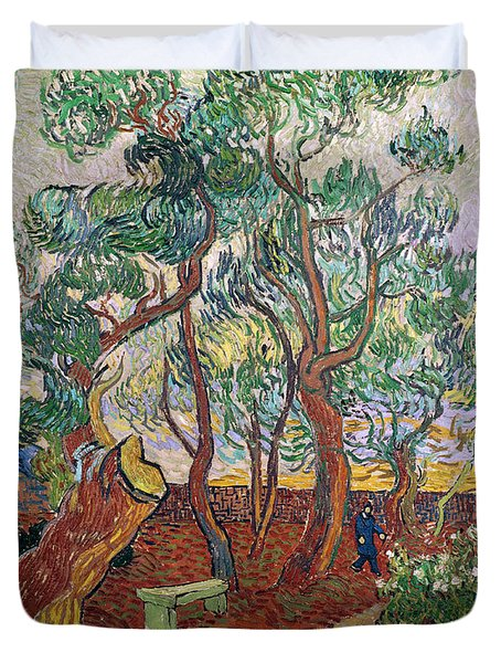 The Garden Of St Pauls Hospital At St. Remy Duvet Cover by Vincent Van Gogh