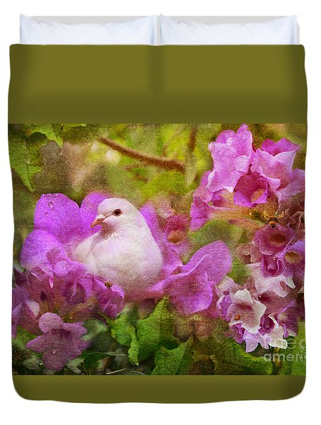 The Garden Of White Dove Duvet Cover by Olga Hamilton