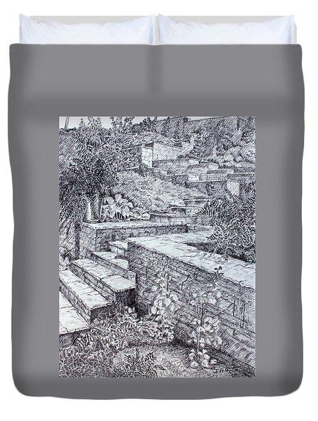The Garden Wall Duvet Cover by Janet Felts