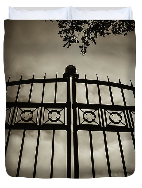 The Gate In Sepia Duvet Cover
