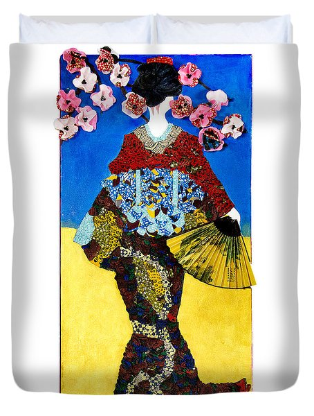 Duvet Cover featuring the tapestry - textile The Geisha by Apanaki Temitayo M