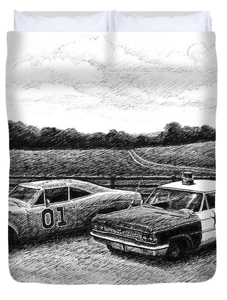 Duvet Cover featuring the drawing The General Lee And Barney Fife's Police Car by Janet King