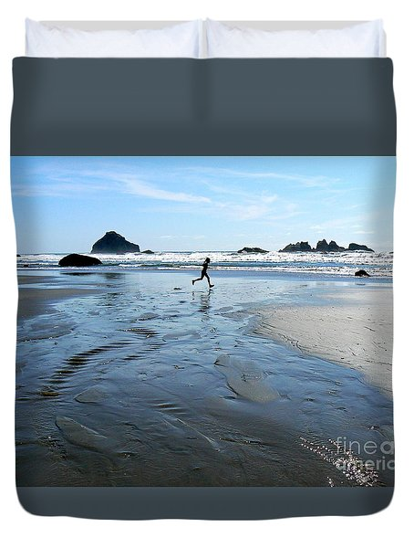 the Girl and the Ocean Duvet Cover by Dona  Dugay