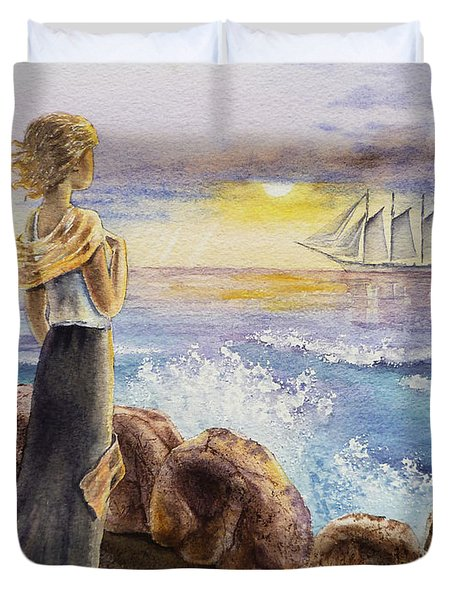 The Girl And The Ocean Duvet Cover