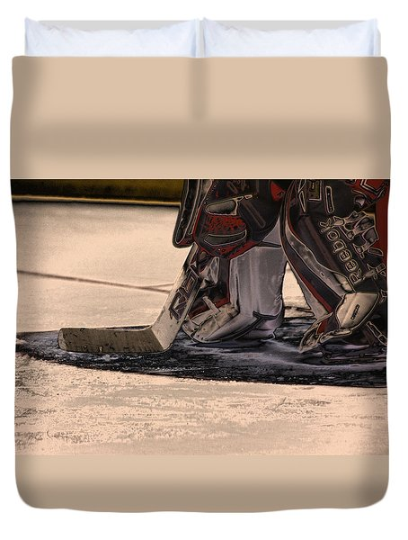 The Goalies Crease Duvet Cover by Karol Livote