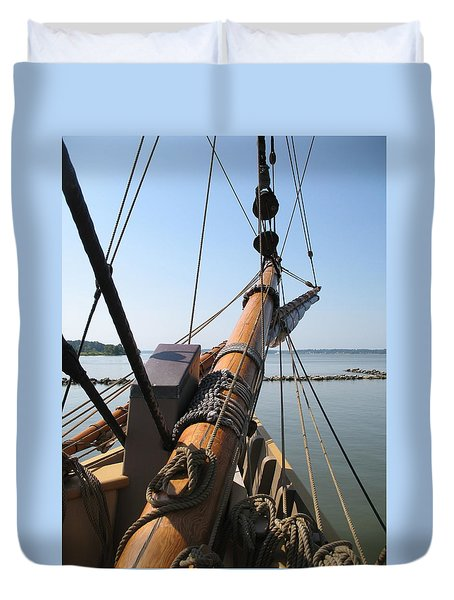 Duvet Cover featuring the photograph The Godspeed Bowsprit At Jamestown by Kathy Barney