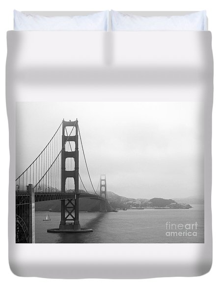 The Golden Gate Bridge In Classic B W Duvet Cover