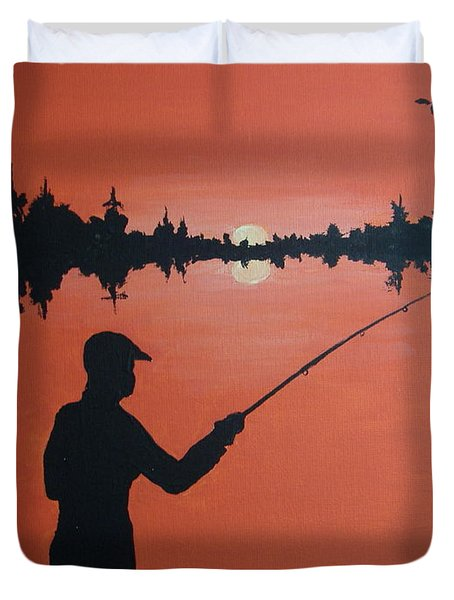 Duvet Cover featuring the painting The Golden Hour by Norm Starks