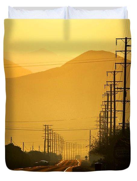 Duvet Cover featuring the photograph The Golden Road by Matt Harang