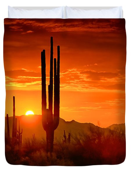 The Golden Southwest Skies  Duvet Cover