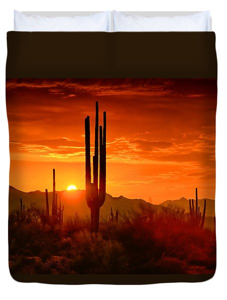 The Golden Southwest Skies  Duvet Cover by Saija  Lehtonen
