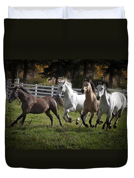 Duvet Cover featuring the photograph The Goldendale Four 7277 by Wes and Dotty Weber