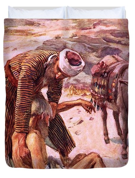 The Good Samaritan Duvet Cover by Harold Copping