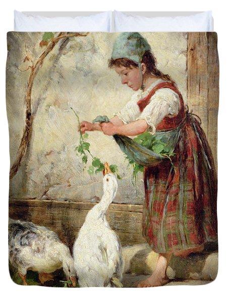 The Goose Girl Duvet Cover by Antonio Montemezzano
