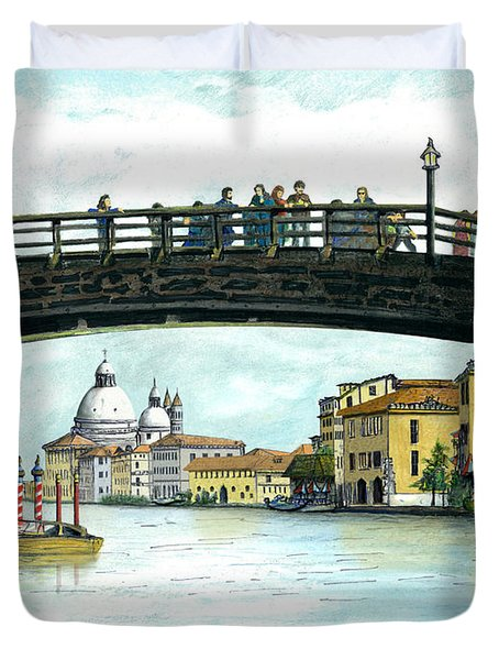 Duvet Cover featuring the painting The Grand Canal Venice Italy by Albert Puskaric