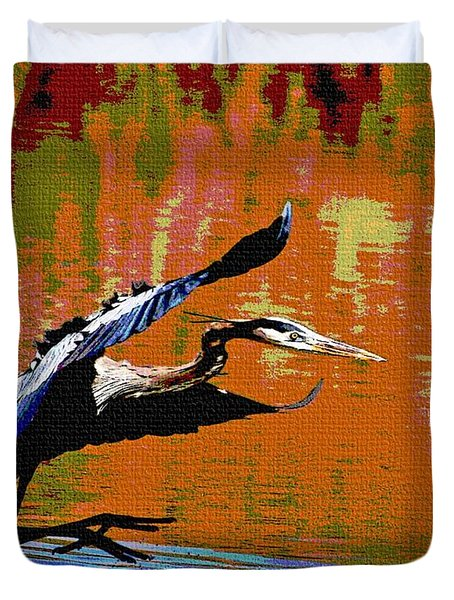 Duvet Cover featuring the photograph The Great Blue Heron Jumps To Flight by Tom Janca