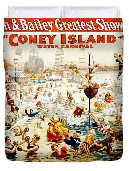 The Great Coney Island Water Carnival Duvet Cover by Georgia Fowler