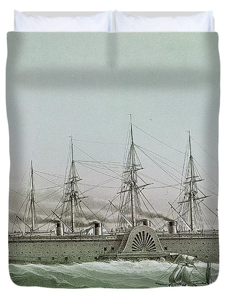 The Great Eastern Laying Electrical Cable Between Europe And America Duvet Cover by Louis Le Breton
