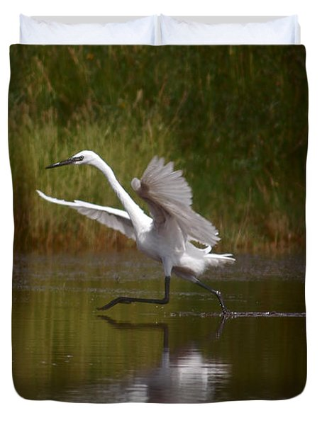 Duvet Cover featuring the photograph The Great Egret by Leticia Latocki
