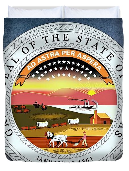 The Great Seal Of The State Of Kansas  Duvet Cover by Movie Poster Prints