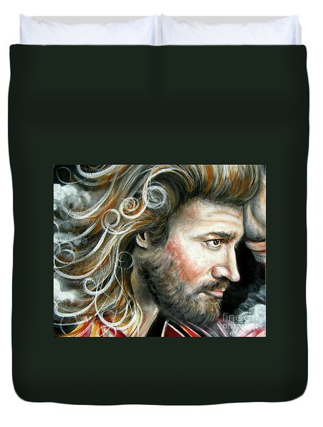Duvet Cover featuring the painting The Greatest Man In The World by Patrice Torrillo