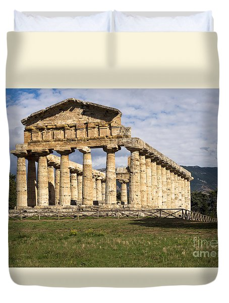 The Greek Temple Of Athena Duvet Cover