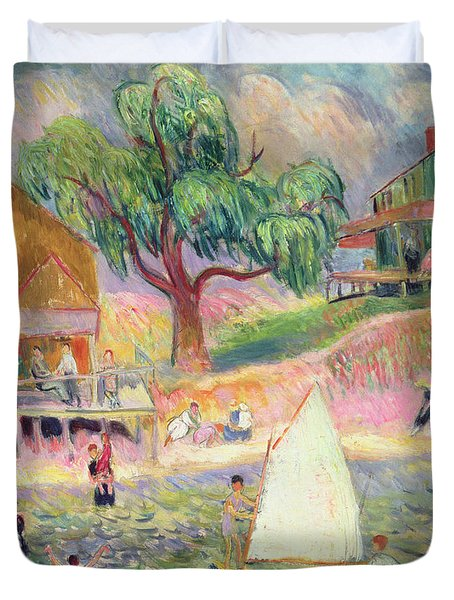 The Green Beach Cottage Duvet Cover by William James Glackens
