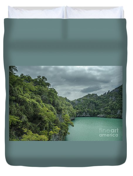 The Green Laguna Duvet Cover by Michelle Meenawong
