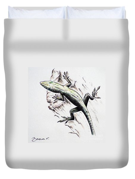 The Green Lizard Duvet Cover by Katharina Filus